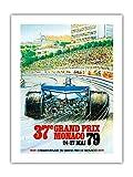 37e Grand Premio de Mónaco 1979 – Cartel deportivo de Alain Giampaoli c.1979 – Papel de bambú con impresión artística 43 x 56 cm