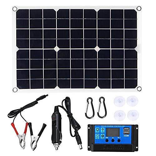 Haudang Panel solar de 15 W, cargador de batería de 12 V, controlador de 50 A, para caravana, furgoneta, barco, Dual USB