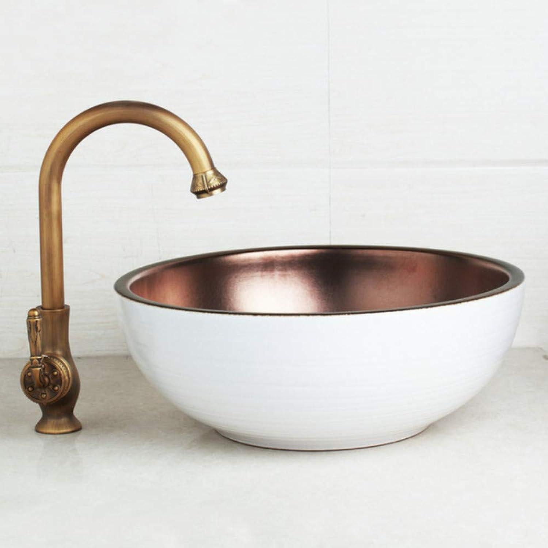 Ayhuir Kunst Keramik Waschbecken Waschbecken Set Gedreht Antik Messing Wasserhahn Wei innerhalb Becken Mischbatterie Pop Up Drain
