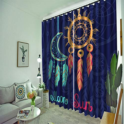 FACWAWF Household Ethnic Style Pattern Polyester Fabric Living Room Bedroom Balcony Study Room Curtain 132x160cm(2pcs)