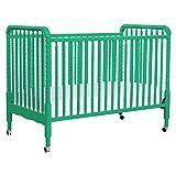 DaVinci Jenny Lind 3-in-1 Convertible Portable Crib in Emerald - 4 Adjustable Mattress Positions, Greenguard Gold