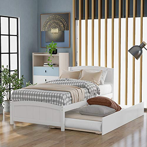 Twin Platform Bed with Trundle, Rockjame Minimalistic Stylish Wood Bed Frame, Easy to Install, Suitable for Kids, Teens and Adults (White)