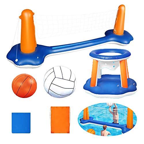HAN XIU Piscina de Agua Float Set Inflable Voleibol Red y Baloncesto Hoops Flotante Piscina Natación Juguetes,Azul