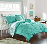 Chic Home 9 Piece Louisville Pinch Chevron Print Reversible Bed in a Bag Comforter Set Sheets, Full, Aqua
