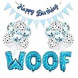 EElabper Partido del Perro Decoraciones de cumpleaños Suministros para Mascotas Conjunto de la Bandera de la impresión de Globo con la celebración de la Cinta Azul