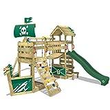 WICKEY Spielturm GhostFlyer Kletterturm Spielhaus auf Podest Grün mit Schaukel und Rutsche, großem...