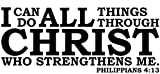 Empresal Wall Decal Quote Philippians 4:13 I Can Do All Things Through Christ Scripture Sticker