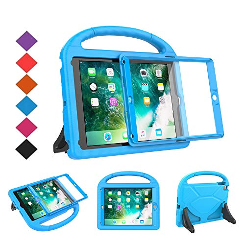 BMOUO Kids Case for New iPad 9.7 2018/2017 - Built-in Screen Protector Shockproof Light Weight Handle Convertible Stand Case for Apple iPad 9.7 Inch 2018 (6th Generation) / 2017 (5th Gen) - Blue