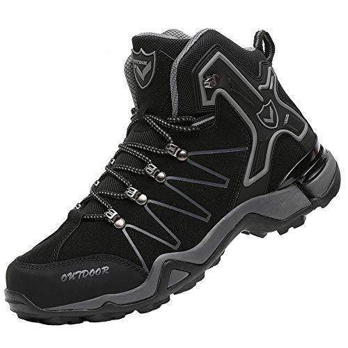[VITIKE] トレッキングシューズ メンズ ハイカット 防水 ハイキングシューズ 透湿 軽量 登山靴 レディース アウトドア スニーカー ウォーキングシューズ 大きいサイズ 滑り止め スノーブーツ 多機能 通勤 黒 24.5cm