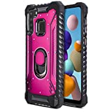 CasemartUSA Phone Case for [Samsung Galaxy A21], [Titanium Series][Hot Pink] Aluminium Cover Full Rotating Metal Ring Holder Kickstand for Samsung Galaxy A21 (Verzion, Boost Mobile, T-Mobile, Metro)
