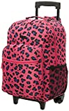 Rockland Double Handle Rolling Backpack, Magenta Leopard, 17-Inch