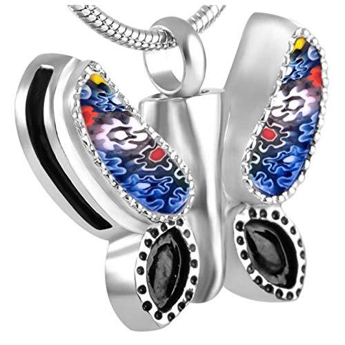 Wxcvz Collar para Cenizas Charm Butterfly Urn Animal Urn Pet/Human Ash Hold Joyería De Cremación De Acero Inoxidable Ataúd Funerario Joyería De Moda