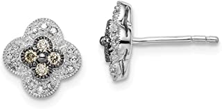 925 Sterling Silver Rhod Plated Champagne Diamond Small Flower Post Stud Earrings Gardening Fine Jewelry Gifts For Women For Her