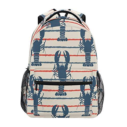 HaJie Zaino Retro Stripes Ocean Lobster Travel Zaino Grande Capacità Zaino Casual Scuola Book Bag Tracolla Computer Laptop Bag per Donna Uomo Ragazze Ragazzi