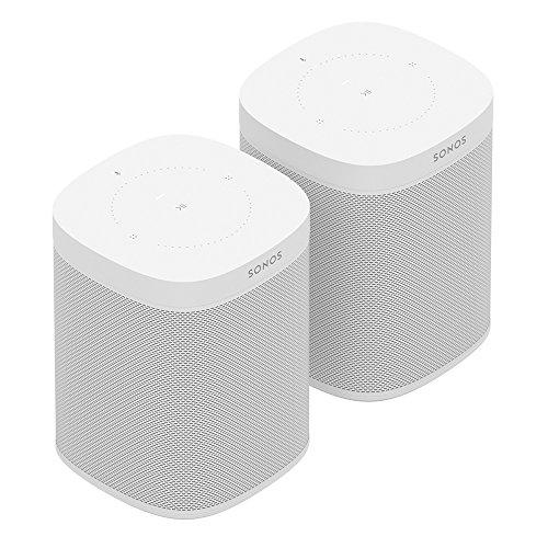 Sonos One Smart Speaker 2-Raum Set, weiß – Intelligente WLAN Lautsprecher mit Alexa Sprachsteuerung & AirPlay – Zwei Multiroom Speaker für unbegrenztes Musikstreaming
