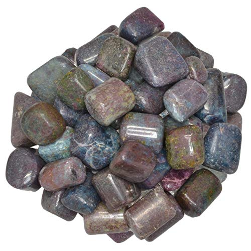 Digging Dolls: 1/8 lb of Tumbled (Hand Polished) Ruby in Kyanite Stones - Polished Rocks for Crafts, Art, Vase Filler, Decoration, Reiki, Crystal Jewelry Making and More!