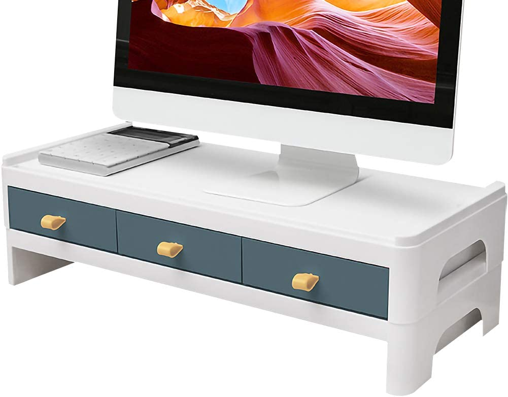 Kelendle Monitor Riser Stand Desk Shelf with Drawer Keyboard Storage Splittable Computer Monitor Booster Computer Riser Stand Blue