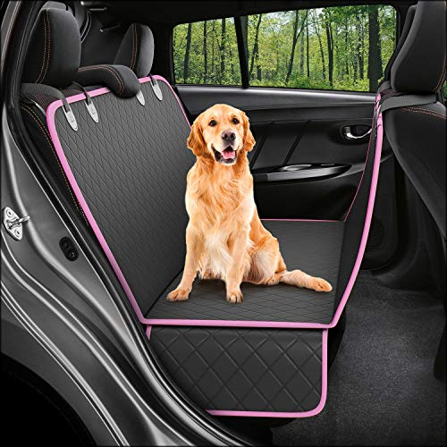 Dog Back Seat Cover Protector Waterproof Scratchproof Nonslip Hammock for Dogs Backseat Protection Against Dirt and Pet Fur Durable Pets Seat Covers for Cars & SUVs (Pink)