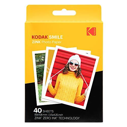 """Kodak Papel de impresión fotográfica Zink 3,5""""x4,25"""" (40 Hojas) Compatible con la cámara instantánea Kodak Smile Classic"""