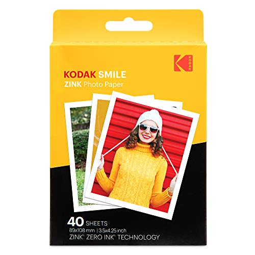 Kodak 3.5x4.25 inch Premium Zink Print Photo Paper (40 Sheets) Compatible with Kodak Smile Classic Instant Camera Arizona