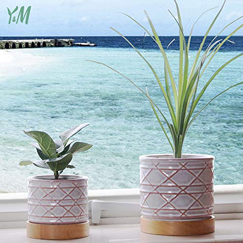Y&M Round Modern Ceramic Garden Flower Pots with Rubber Wood Tray, 5.2' & 4.8' Decorative Plant Pots for Succulent Cactus Bonsai and hydroponic Plant, Glazed Ceramic Design-Set of 2/Pink