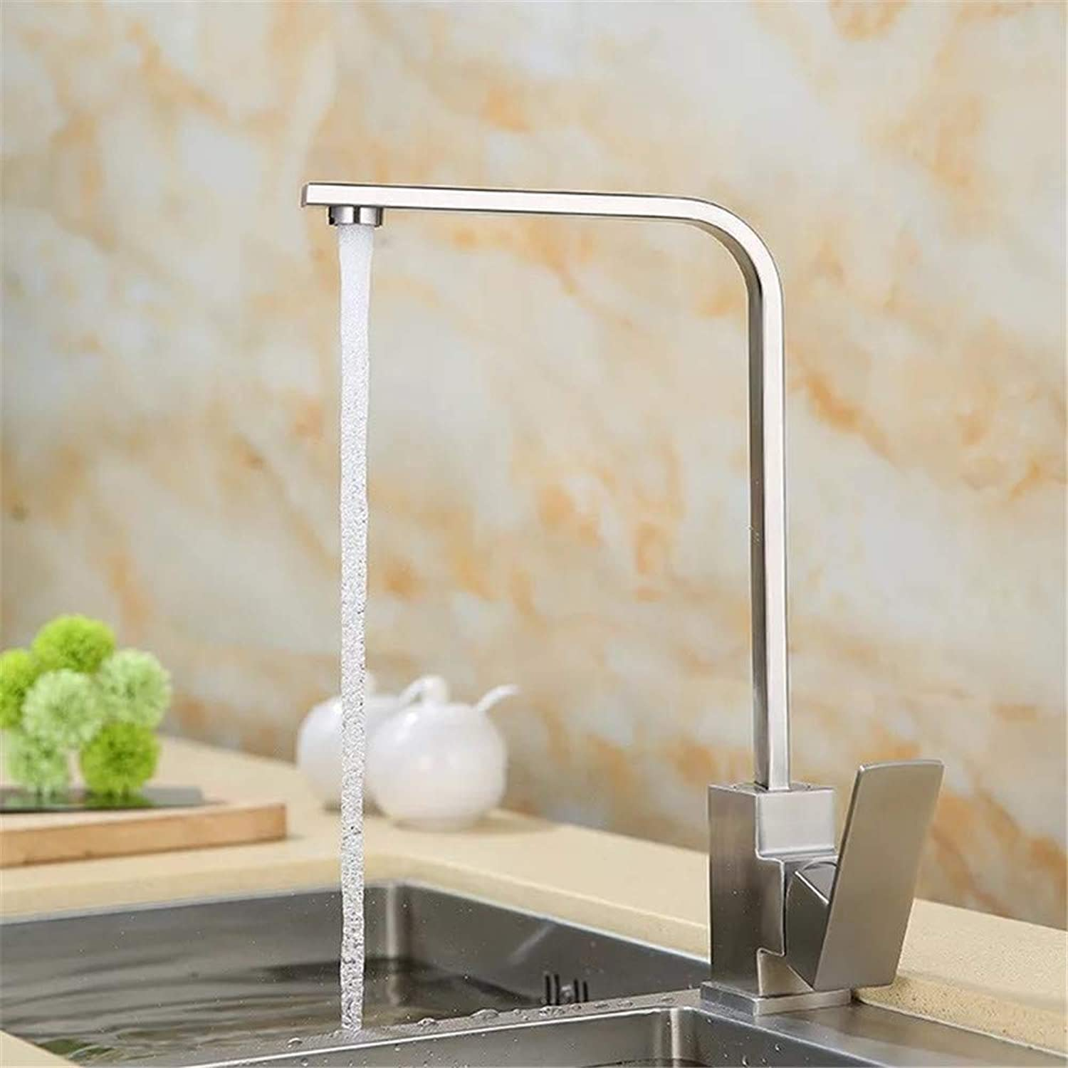 Oudan Lead Flat Tube redating Tank 304 Stainless Steel Cold Kitchen Sink Faucet Seven Characters Flat Tube is redated Vegetables Basin Mixer (color   -, Size   -)
