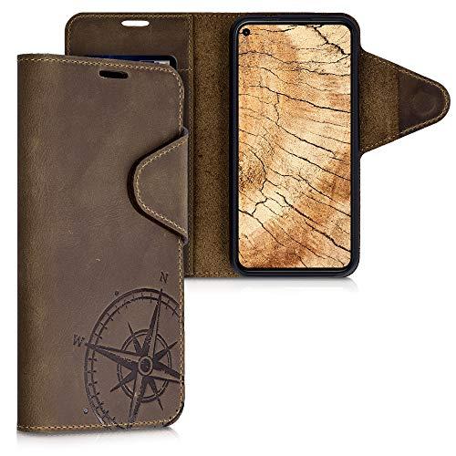kalibri Wallet Hülle kompatibel mit Google Pixel 5 - Hülle Leder - Handy Cover Handyhülle Kompass Vintage Braun