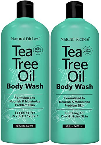 Natural Riches Extra Strength Tea Tree Oil Skin Clearing Body Wash Hand Wash Peppermint Eucalyptus Oil Soap by Natural Riches - Helps with Skin and Hair - Pack of 2 - 16 Fl Oz
