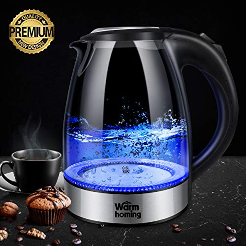 Electric Kettle Warmhoming 17L Cordless Glass Tea Kettle Hot Water Kettle Heater with Auto ShutOff amp BoilDry Protection BPAFree amp 304 Stainless Steel Fast Boiler with LED Indicator Light