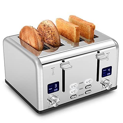 Toaster 4 Slice Silver, Bagel Function Stainless Toaster with LED Timer Display, Dual Screen, Extra-Wide Slot, Removal Crumb Tray