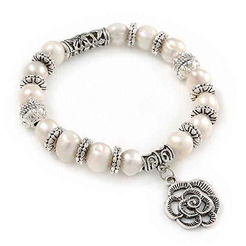 Avalaya - Braccialetto elastico con perle d'acqua dolce da 10 mm e anelli in metallo argentato, lunghezza 18 cm