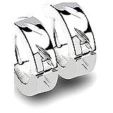 Perforación Cult - 1 par de pendientes acero inoxidable Aros Silver Magix tazas