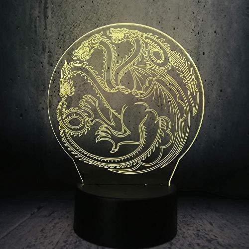 3D luz de la noche, llevó la linterna de la diapositiva del niño dragón madre tótem juego de tronos fan regalo fuego dragón multicolor bombilla decoración 16 colores