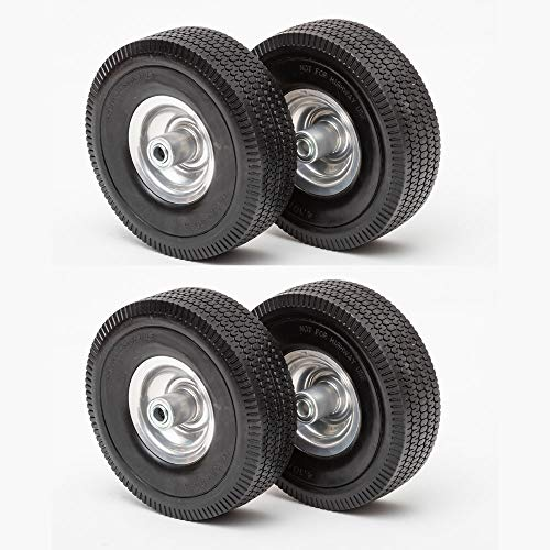Lapp Wagons 10.5' Flat Free Tires, Set of Four Replacement Wheels, Solid Rubber, 4.10/3.50-4 Wheel Size 2-1/4'' Offset hub, 5/8'' Bearing
