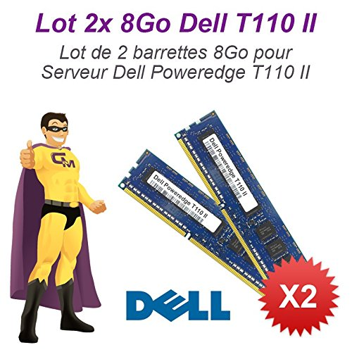 N.C. - Lote de 2módulos de memoria RAM para servidor Dell (8GB, 16GB RAM, T110II, 240-pin DIMM, DDR3 ECC, PC3–12800E)