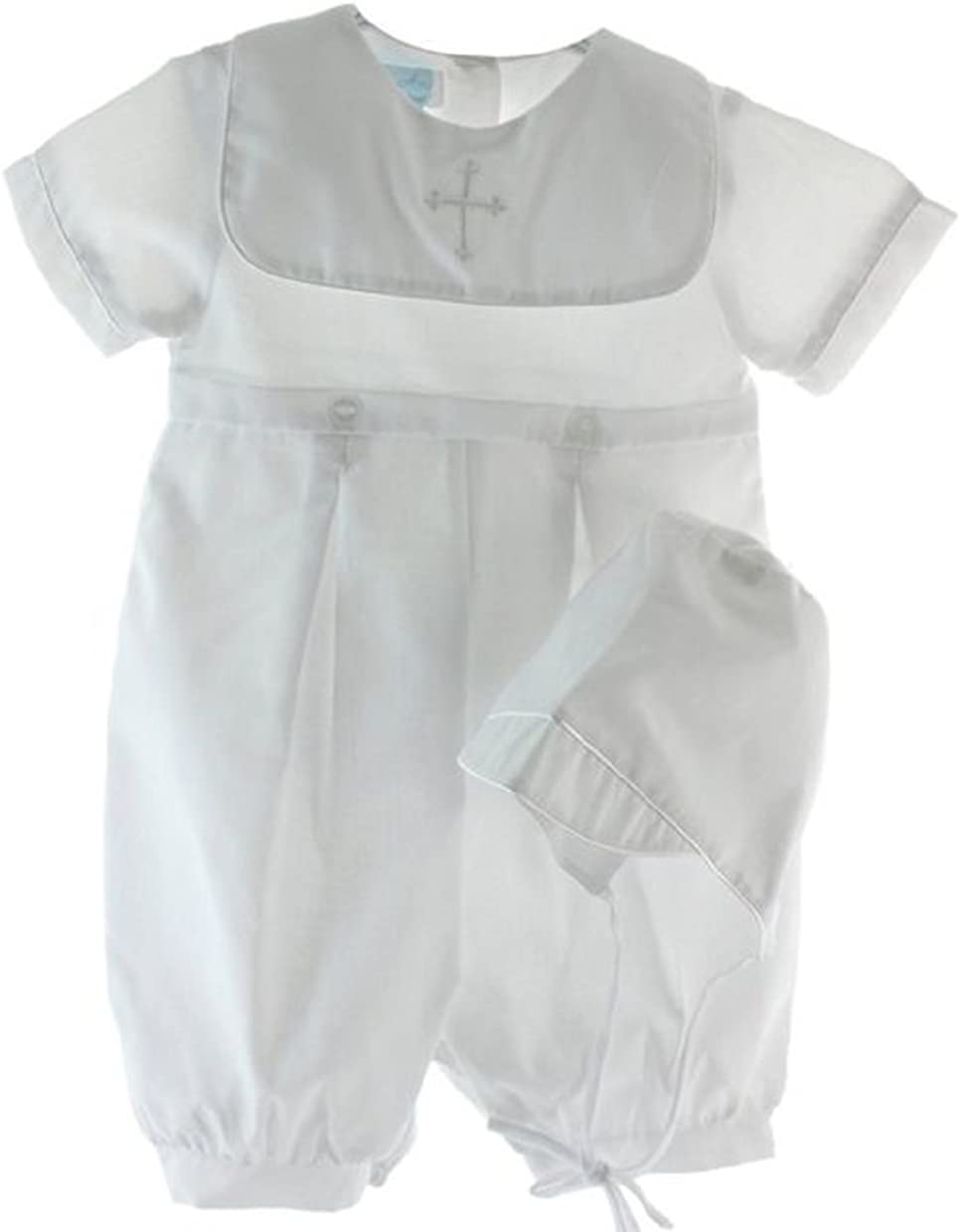 Baby Boys Many popular brands Baptism Romper and Hat Embroidered with Cross Las Vegas Mall