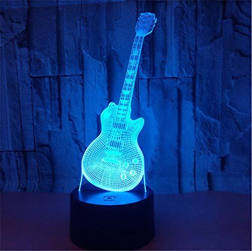 Lámpara de Noche de Ilusión óptica 3D LED de la carga USB del efecto creativo de la ilusión 3D con 7 colores que cambian para las decoraciones del hogar guitarra eléctrica