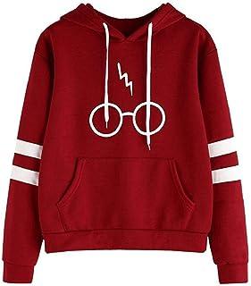 Camisetas Manga Larga Varsity Gafas de Harry Potter Encapuchado Camisa de Entrenamiento Sudaderas con Capucha Tops para Mu...
