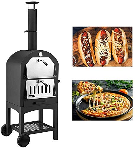 U-MAX Outdoor Pizza Oven Wood Fire, Freestanding, Steel Pizza Grill, Pizza Maker Camping Cooker with Pizza Stone