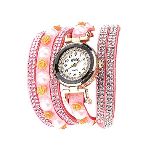 Fenverk Retro Vintage Klee Design Damen Armbanduhr Armreif Uhr Anhänger Spangenuhr Quarzuhren,Mode-Accessoires Retro Weave Wrap Um Leder Armband mit Schlüssel Frauen Quarz Natur Stlye Uhr(Pink#02)