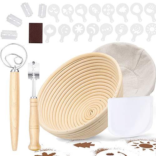 9in Bread Proofing Basket, PATIOPTION 21PCS Professional Banneton Baking Kit Set Round Dough Baking Bowl for Baker Include 1 Proofing Basket 22cm/Cloth Liner/Scoring Lame/Scraper/Whisk/16 Stencils