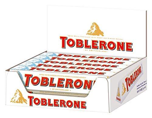 Toblerone weiße Schokolade - Feine weiße schweizer Schokolade mit Honig- und Mandelnougat - 20 x 100