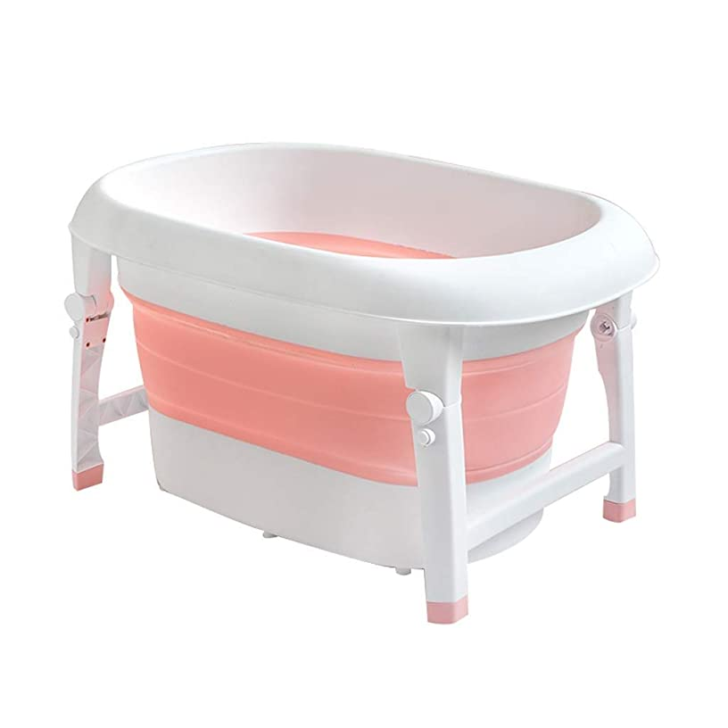 Folding Bathtub, Baby Folding Thicken Bathtub, Infant Collapsible Portable Bathtub, Can Sit and Lay, 3 Colors GAOFENG (Color : Red, Size : 80 × 54 × 45cm)