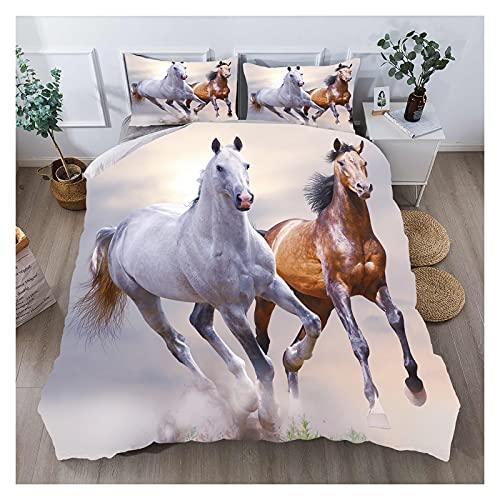 MKHFUW Bettwäsche-Set für Pferde, 3D-Druck, Pferde, Einzelbett, Doppelbett, King-Size, Bettwäsche für Jungen und Mädchen, Doppelbett (200 x 200 cm)