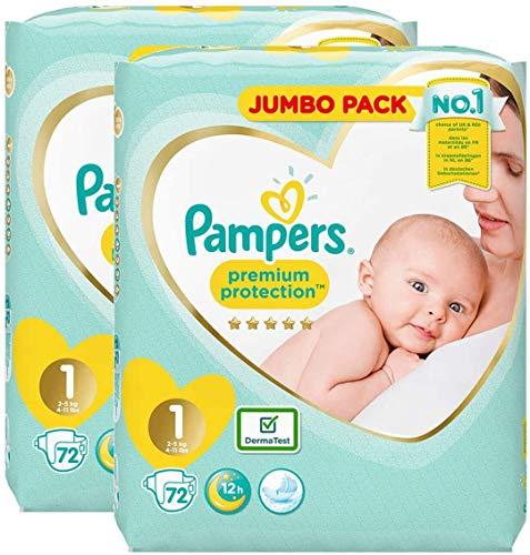 Pampers Windeln für Neugeborene, Größe 1 (2–5 kg) Windeln, New Baby Sensitive Windel, Jumbo-Pack Duo, 144 Stück (72 x 2)