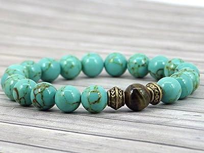 Bracelet pour hommes Thurcolas en perle en turquoise reconstituée et perles œil de tigre