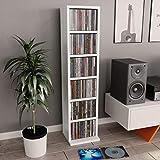 Tidyard Estantería para CDs de aglomerado Blanco con 6 Compartimentos Abiertos 21x16x88 cm