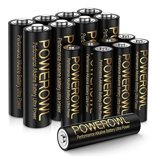 POWEROWL High-Capacity Alkaline AA AAA Batteries Combo, Long Lasting, 10-Year Shelf Life - Pack of 16