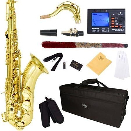 Mendini by Cecilio Tenor Saxophone, L+92D B Flat, Case, Tuner, Mouthpiece, Gold
