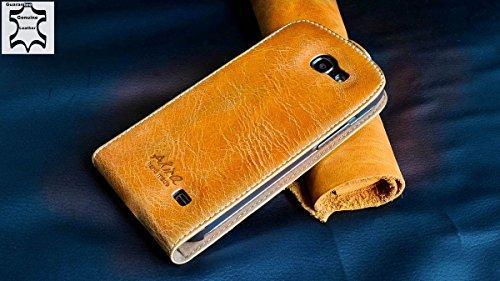 Urcover Akira Hand Made [Echt Leder] Handyhülle kompatibel mit Samsung Galaxy Express i8730 Cover Handgemacht Case Schutzhülle Etui Flip Wallet Pen Hell Braun